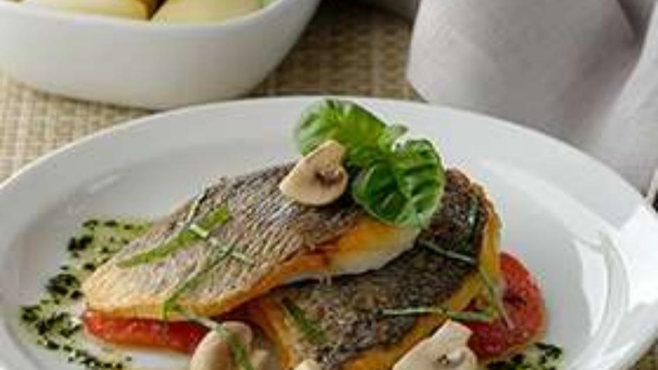 Sea Bass with Crispy Skin in Basil sauce
